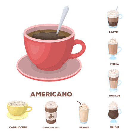 Different kinds of coffee cartoon icons in set collection for design. Coffee drink vector symbol stock  illustration.