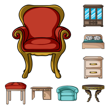 Mobili e interni icone del fumetto nella raccolta di set per il design. Mobili per la casa simbolo vettore illustrazione stock. Vettoriali