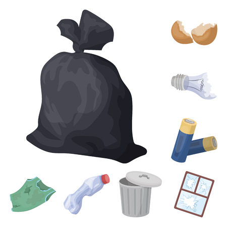 Garbage and waste cartoon icons in set collection for design. Cleaning garbage vector symbol stock web illustration.