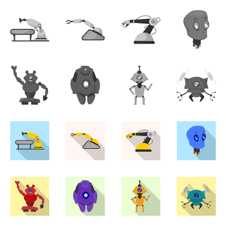 Isolated object of robot and factory logo. Collection of robot and space stock symbol for web.