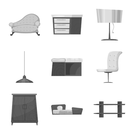Isolated object of furniture and apartment icon. Collection of furniture and home stock vector illustration.