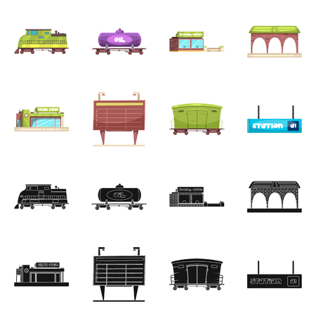 Vector illustration of train and station symbol. Collection of train and ticket stock symbol for web.