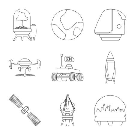 Illustration vectorielle du symbole de mars et de l'espace. Ensemble d'icône de vecteur mars et planète pour le stock.
