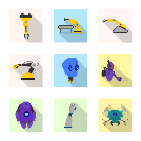 Vector design of robot and factory icon. Collection of robot and space stock symbol for web.