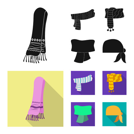 Isolated object of scarf and shawl symbol. Set of scarf and accessory vector icon for stock.  イラスト・ベクター素材