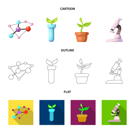 Isolated object of genetic and plant icon. Collection of genetic and biotechnology stock vector illustration.