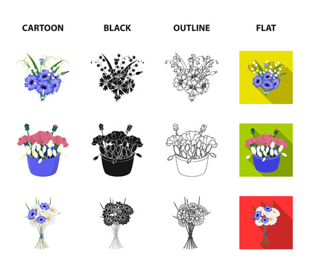 A bouquet of fresh flowers cartoon,black,outline,flat icons in set collection for design. Various bouquets vector symbol stock  illustration. Ilustração