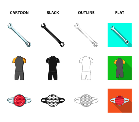 A wrench, a bicyclist bone, a reflector, a timer.Cyclist outfit set collection icons in cartoon,black,outline,flat style vector symbol stock illustration . Vector Illustration