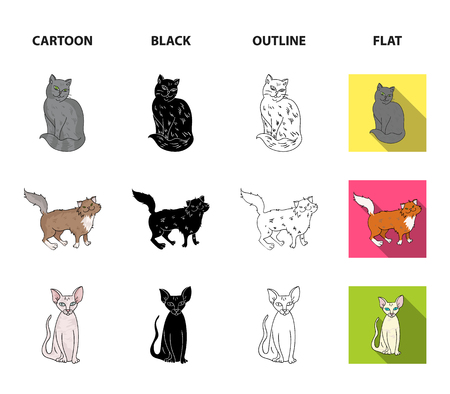 Sphinx, nibelung, norwegian forest cat and other species. Cat breeds set collection icons in cartoon,black,outline,flat style vector symbol stock illustration .