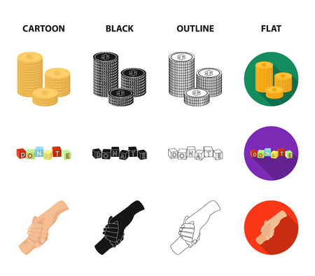 A pile of coins for donations, colored cubes with an inscription, a handshake, a bag of money for donations. Charity and donation set collection icons in cartoon,black,outline,flat style vector symbol stock illustration .