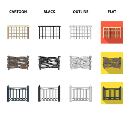A fence of metal and bricks,wooden palisade. A different fence set collection icons in cartoon,black,outline,flat style vector symbol stock illustration .