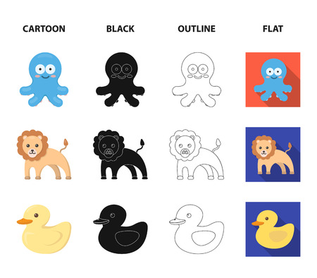 An unrealistic cartoon,black,outline,flat animal icons in set collection for design. Toy animals vector symbol stock illustration.