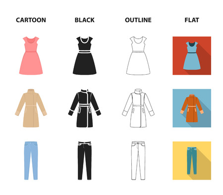 Dress with short sleeves, trousers, coats, raglan.Clothing set collection icons in cartoon,black,outline,flat style vector symbol stock illustration .