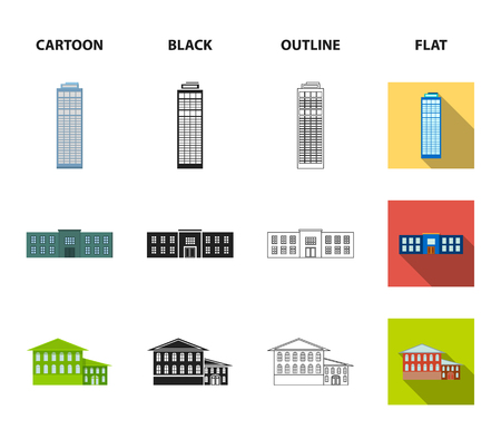 Skyscraper, police, hotel, school.Building set collection icons in cartoon,black,outline,flat style vector symbol stock illustration