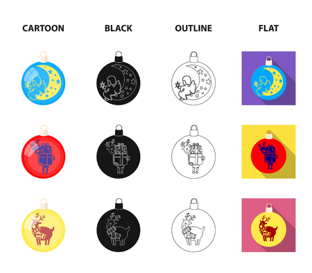 New Year Toys cartoon,black,outline,flat icons in set collection for design.Christmas balls for a treevector symbol stock illustration.
