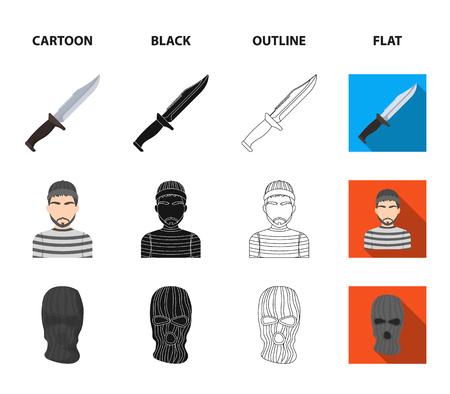 Knife, prisoner, mask on face, steel grille. Prison set collection icons in cartoon,black,outline,flat style vector symbol stock illustration .