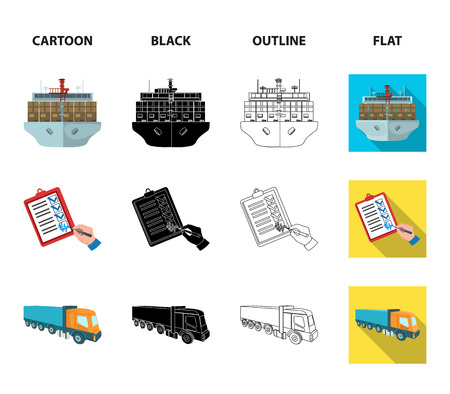 Sea freight, signature of delivery documents, truck, tower crane with a container. Logistics and delivery set collection icons in cartoon,black,outline,flat style isometric vector symbol stock illustration .