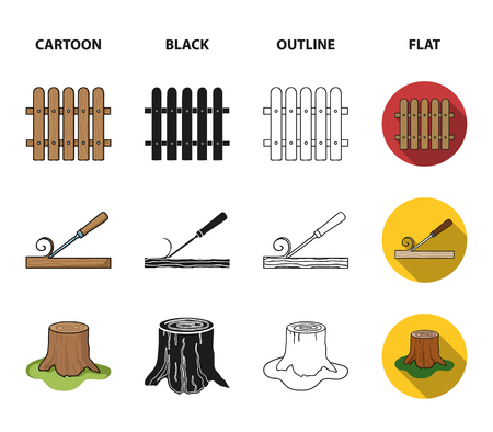 Fence, chisel, stump, hacksaw for wood. Lumber and timber set collection icons in cartoon,black,outline,flat style vector symbol stock illustration . Ilustrace