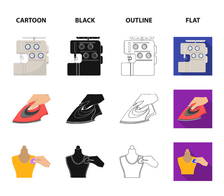 Electric sewing machine, iron for ironing, marking with chalk clothes, roll of fabric and other equipment. Sewing and equipment set collection icons in cartoon,black,outline,flat style vector symbol stock illustration .