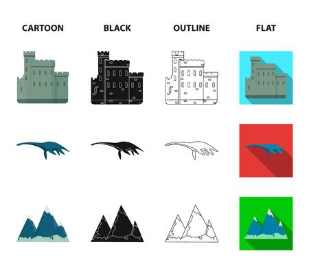 Edinburgh Castle, Loch Ness Monster, Grampian Mountains, national cap balmoral, tam o shanter.Scotland set collection icons in cartoon,black,outline,flat style vector symbol stock illustration .