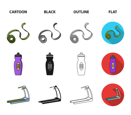 Measuring tape, water bottle, treadmill, dumbbells. Fitnes set collection icons in cartoon,black,outline,flat style vector symbol stock illustration .