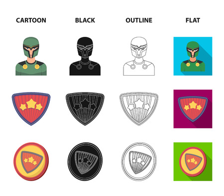 Man, mask, cloak, and other  icon in cartoon,black,outline,flat style.Costume superhero superforce icons in set collection Ilustração