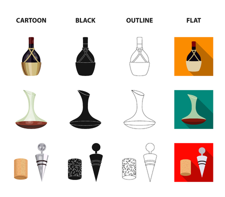 A bottle of wine in a basket, a gafine, a corkscrew with a cork, a grape valley. Wine production set collection icons in cartoon,black,outline,flat style vector symbol stock illustration . Foto de archivo - 107339089