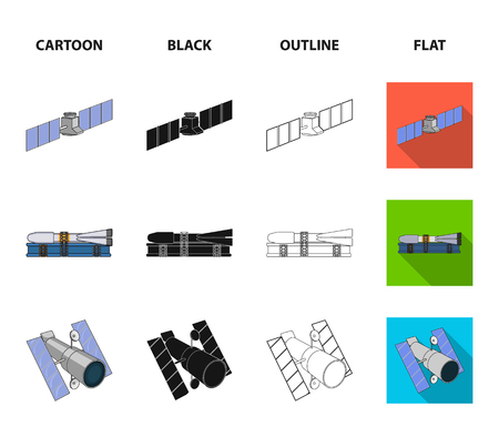 The space station in orbit, the preparation of the launch rocket, the lunar on the surface. Space technology set collection icons in cartoon,black,outline,flat style vector symbol stock illustration .