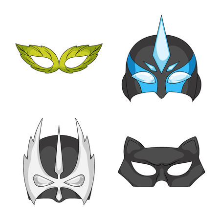 Isolated object of hero and mask symbol. Collection of hero and superhero stock vector illustration. Illustration