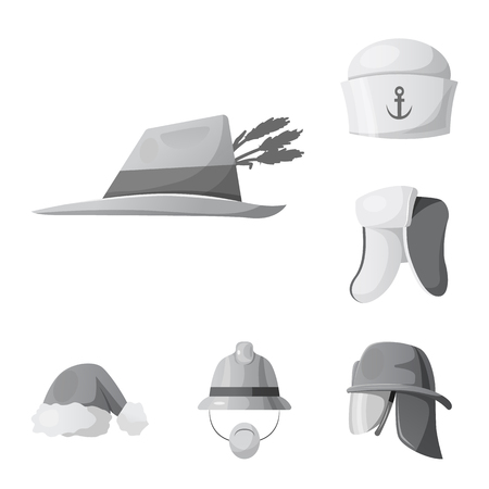 Vector illustration of headwear and cap symbol. Set of headwear and accessory vector icon for stock.