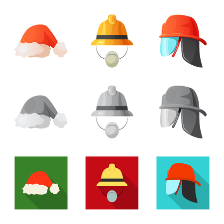 Isolated object of headwear and cap sign. Set of headwear and accessory stock vector illustration.
