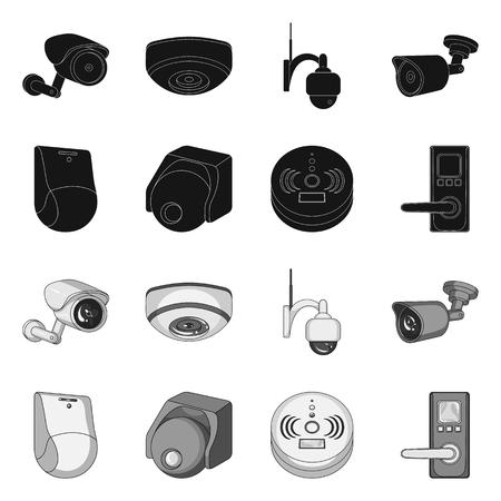 Illustration vectorielle du symbole de la vidéosurveillance et de la caméra. Ensemble d'icônes vectorielles de vidéosurveillance et de système pour le stock.