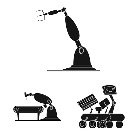 Vector illustration of robot and factory icon. Set of robot and space stock symbol for web.