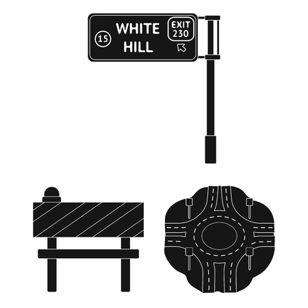 Road junctions and signs and other web icon in black style.Pedestrian crossings and signs icons in set collection.