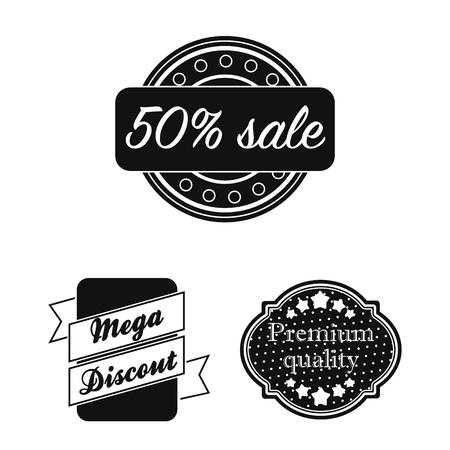 Different label black icons in set collection for design. Index and brand vector symbol stock web illustration. Standard-Bild - 107377078