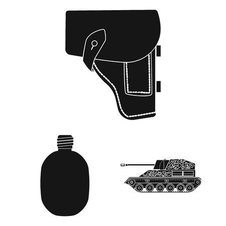 Army and armament black icons in set collection for design. Weapons and equipment vector symbol stock web illustration.