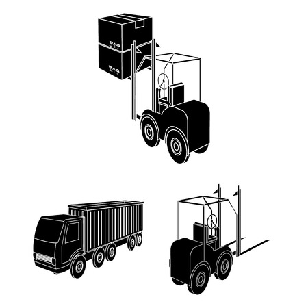 Logistics and delivery black icons in set collection for design. Transport and equipment isometric vector symbol stock  illustration.  イラスト・ベクター素材