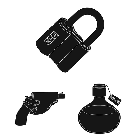 Detective agency black icons in set collection for design. Crime and investigation vector symbol stock  illustration.