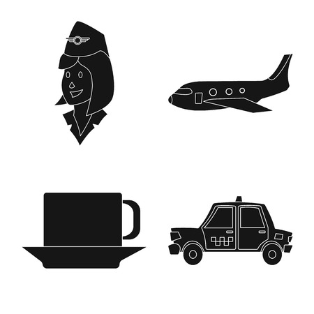 Isolated object of airport and airplane symbol. Collection of airport and plane stock vector illustration.