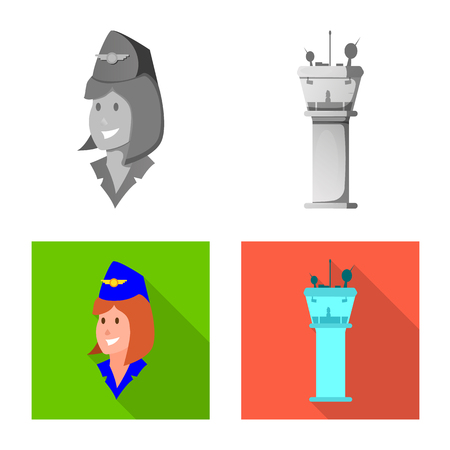 Vector design of airport and airplane icon. Set of airport and plane stock vector illustration. Çizim