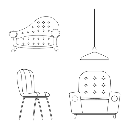 Vector illustration of furniture and apartment logo. Set of furniture and home vector icon for stock.