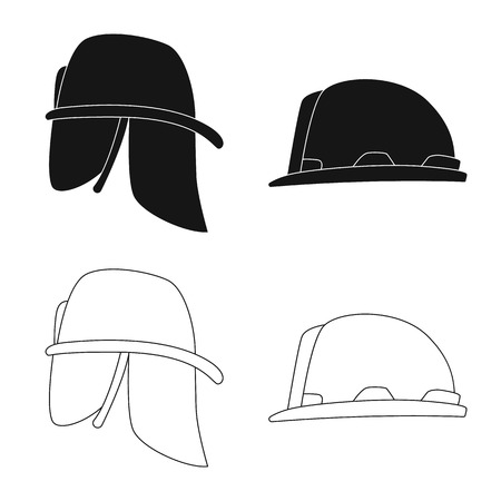 Isolated object of headwear and cap symbol. Set of headwear and accessory stock vector illustration.