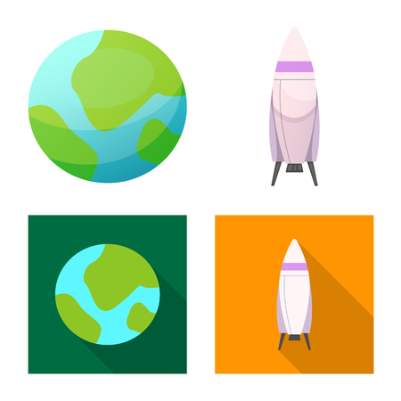 Isolated object of mars and space sign. Collection of mars and planet vector icon for stock.  イラスト・ベクター素材