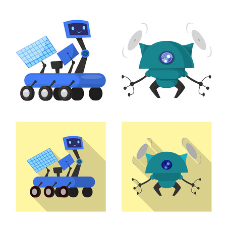 Vector illustration of robot and factory sign. Set of robot and space stock symbol for web. Illustration