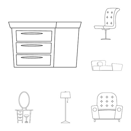 Vector design of furniture and apartment symbol. Collection of furniture and home stock symbol for web.