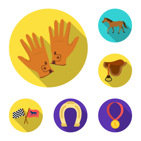 Hippodrome and horse flat icons in set collection for design. Horse Racing and Equipment vector symbol stock  illustration. Иллюстрация