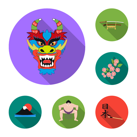 Country Japan flat icons in set collection for design.Japan and landmark vector symbol stock  illustration. Vettoriali