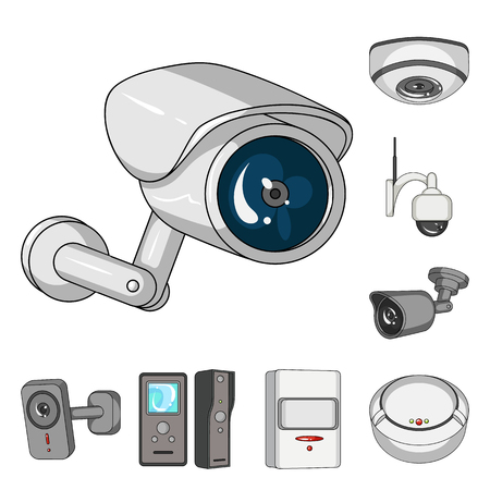 Vector design of cctv and camera logo. Set of cctv and system stock symbol for web.