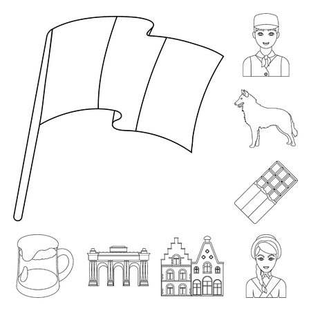 Country Belgium outline icons in set collection for design.Travel and attractions Belgium vector symbol stock illustration.