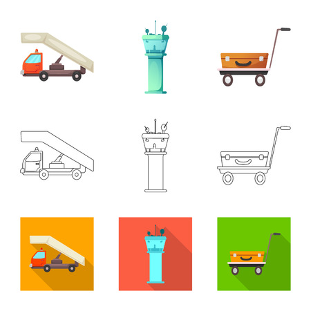 Isolated object of airport and airplane icon. Set of airport and plane vector icon for stock. Иллюстрация